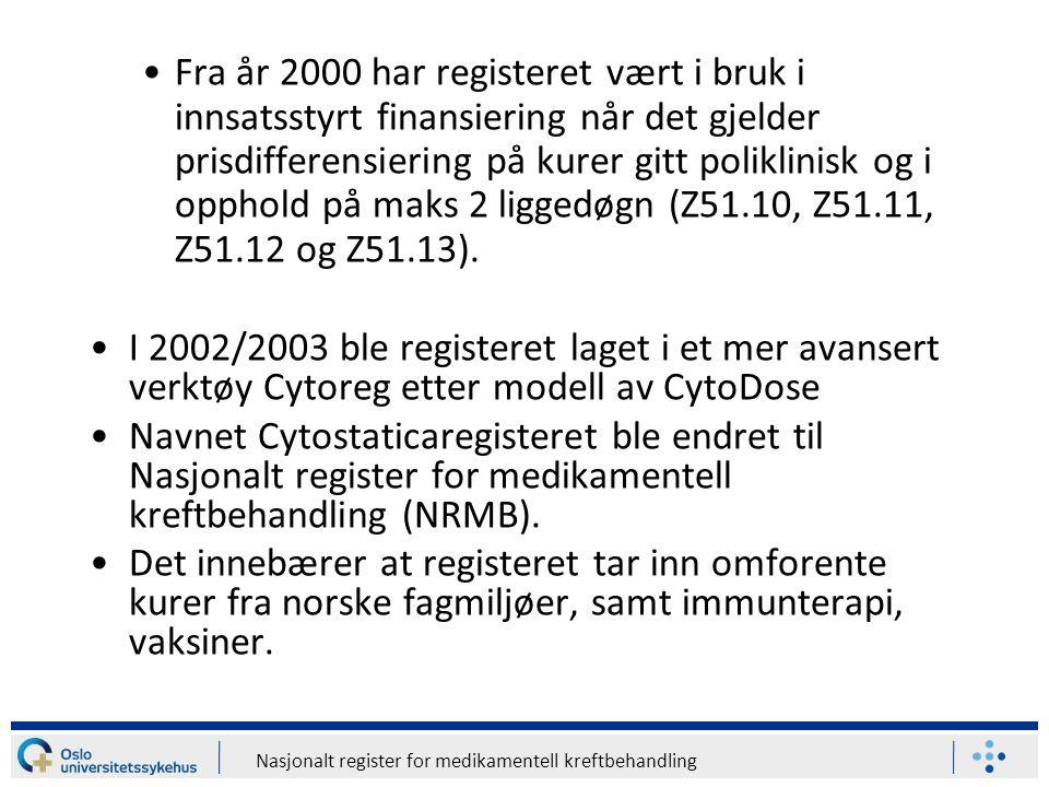 Nasjonalt register for medikamentell kreftbehandling Drift av registeret Oslo universitetssykehus HF ved Kreft-, kirurgi- og transplantasjonsklinikken utfører nødvendig vedlikehold innlegging av kurdefinisjoner (manuell prosedyre) og publisering.