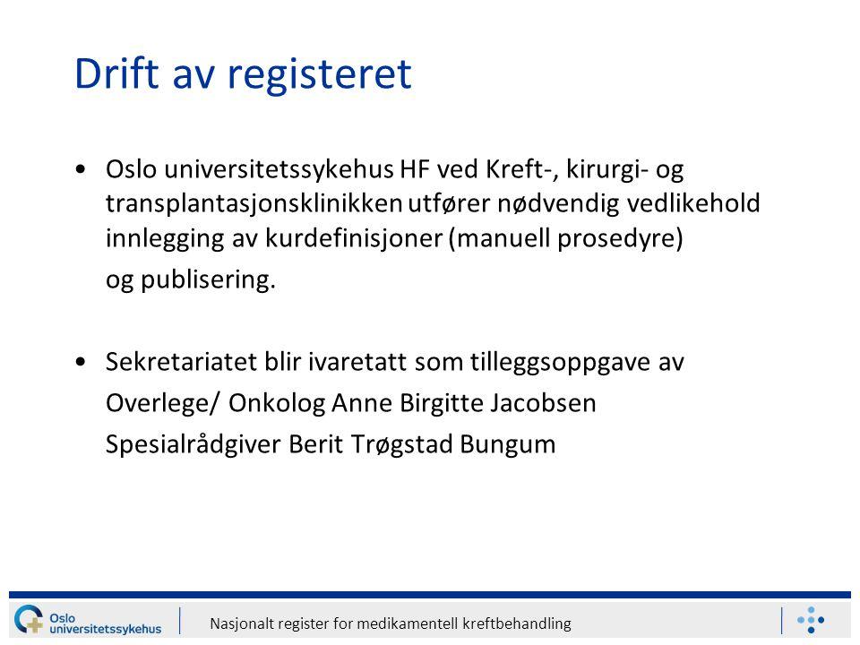 Nasjonalt register for medikamentell kreftbehandling Drift av registeret Oslo universitetssykehus HF ved Kreft-, kirurgi- og transplantasjonsklinikken