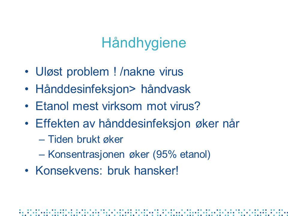 Håndhygiene Uløst problem . /nakne virus Hånddesinfeksjon> håndvask Etanol mest virksom mot virus.