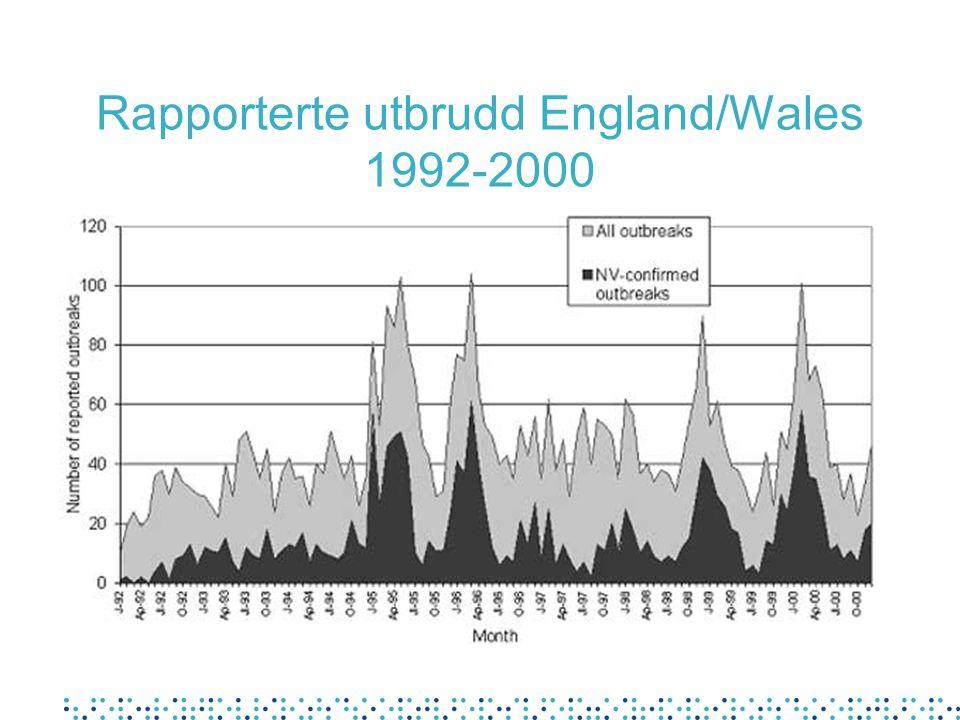 Rapporterte utbrudd England/Wales 1992-2000
