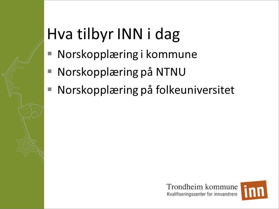 Hva tilbyr INN i dag  Norskopplæring i kommune  Norskopplæring på NTNU  Norskopplæring på folkeuniversitet