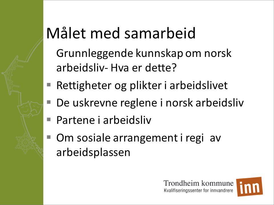 Målet med samarbeid Grunnleggende kunnskap om norsk arbeidsliv- Hva er dette?  Rettigheter og plikter i arbeidslivet  De uskrevne reglene i norsk ar
