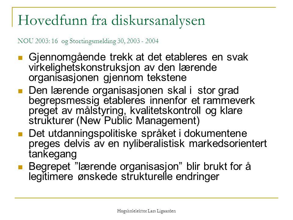 Høgskolelektor Lars Ligaarden Hovedfunn fra diskursanalysen NOU 2003: 16 og Stortingsmelding 30, 2003 - 2004 Gjennomgående trekk at det etableres en s