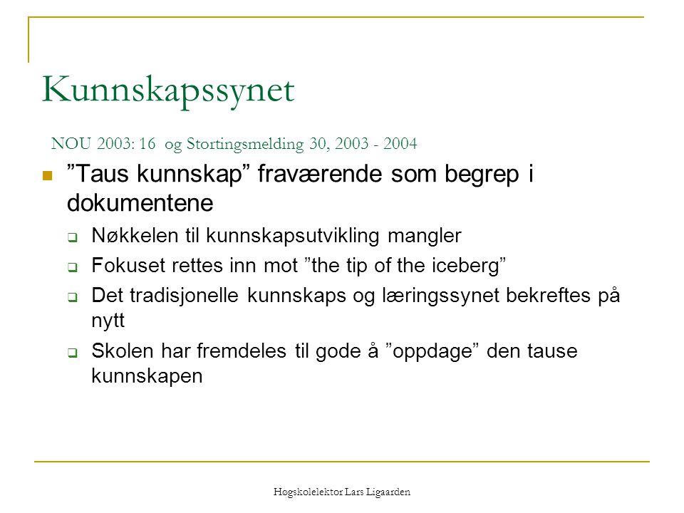"""Høgskolelektor Lars Ligaarden Kunnskapssynet NOU 2003: 16 og Stortingsmelding 30, 2003 - 2004 """"Taus kunnskap"""" fraværende som begrep i dokumentene  Nø"""