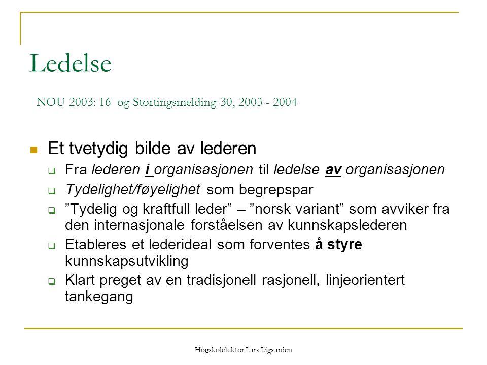 Høgskolelektor Lars Ligaarden Ledelse NOU 2003: 16 og Stortingsmelding 30, 2003 - 2004 Et tvetydig bilde av lederen  Fra lederen i organisasjonen til