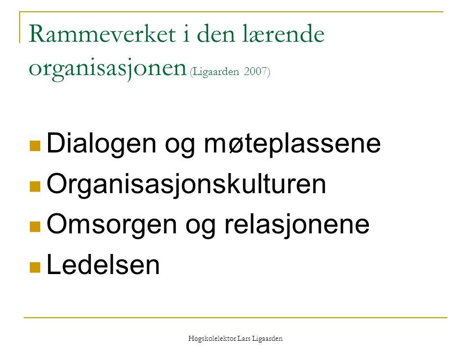 Høgskolelektor Lars Ligaarden Rammeverket i den lærende organisasjonen (Ligaarden 2007) Dialogen og møteplassene Organisasjonskulturen Omsorgen og rel