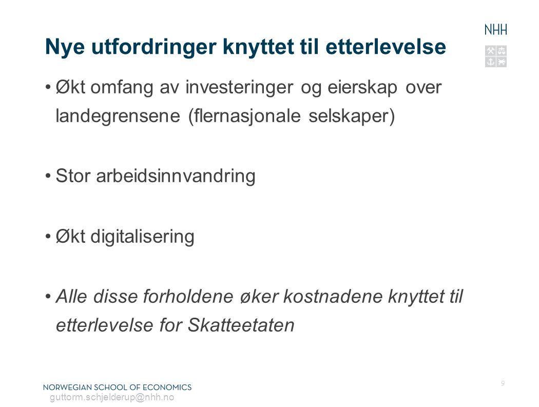 guttorm.schjelderup@nhh.no Nye utfordringer knyttet til etterlevelse Økt omfang av investeringer og eierskap over landegrensene (flernasjonale selskap