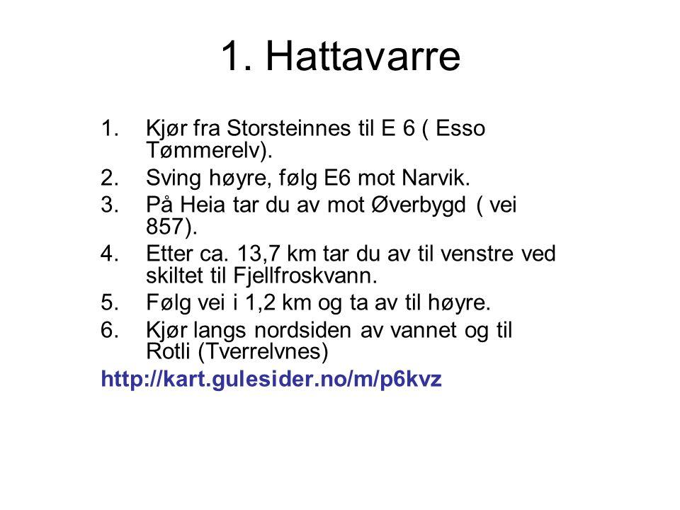 1. Hattavarre 1.Kjør fra Storsteinnes til E 6 ( Esso Tømmerelv).