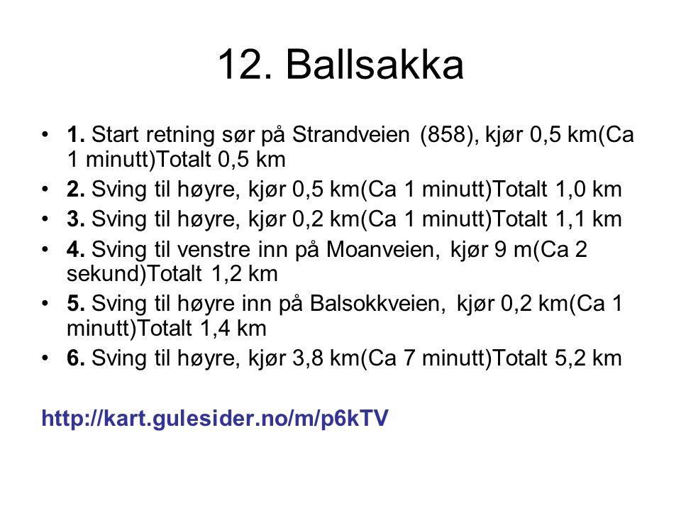 12. Ballsakka 1. Start retning sør på Strandveien (858), kjør 0,5 km(Ca 1 minutt)Totalt 0,5 km 2.