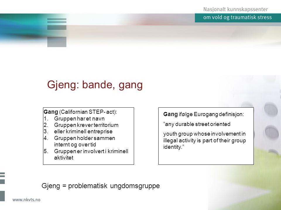 1.Veier inn i gjengen Nettverk: familierekruttering Nøkkelhendelser Kameratnettverk Fristes av penger 2.