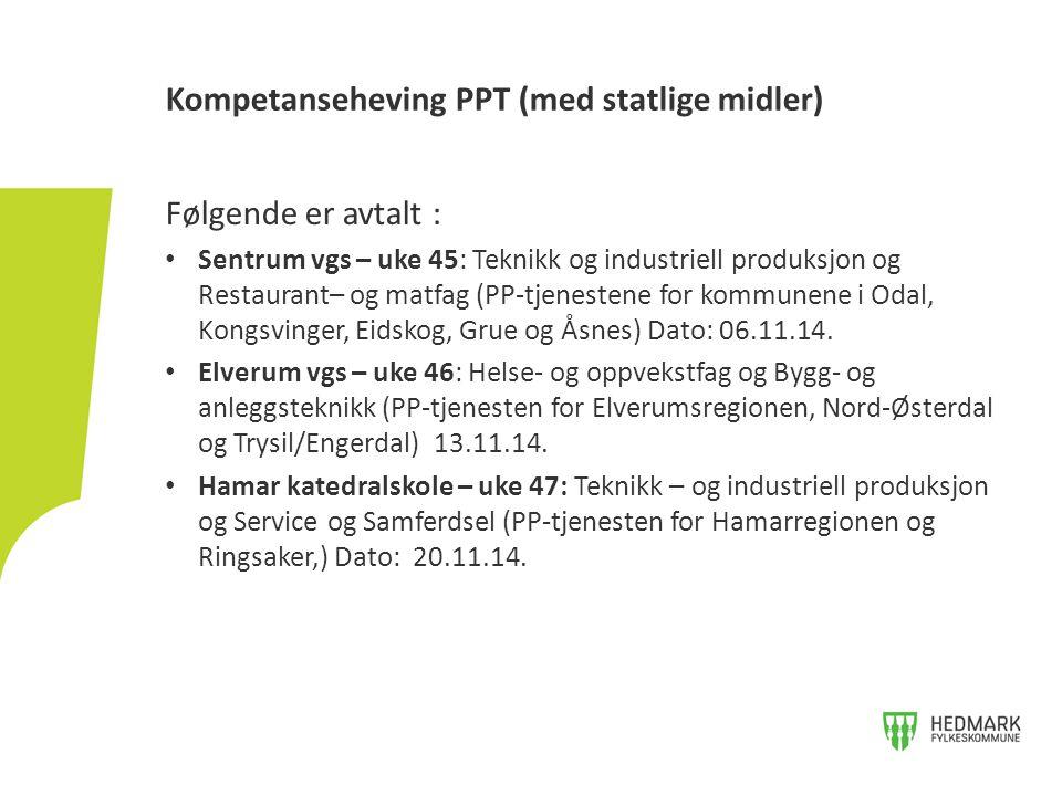 Følgende er avtalt : Sentrum vgs – uke 45: Teknikk og industriell produksjon og Restaurant– og matfag (PP-tjenestene for kommunene i Odal, Kongsvinger, Eidskog, Grue og Åsnes) Dato: 06.11.14.