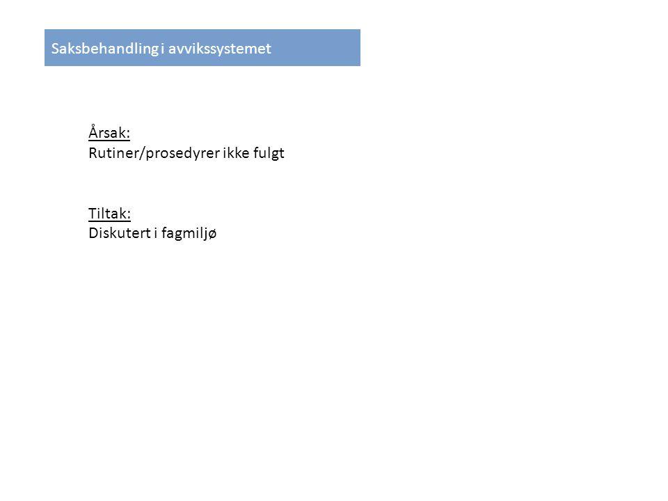 Saksbehandling i avvikssystemet Årsak: Rutiner/prosedyrer ikke fulgt Tiltak: Diskutert i fagmiljø