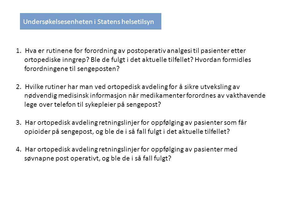 1.Hva er rutinene for forordning av postoperativ analgesi til pasienter etter ortopediske inngrep.