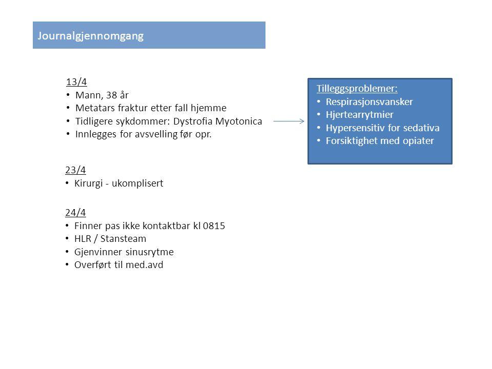 13/4 Mann, 38 år Metatars fraktur etter fall hjemme Tidligere sykdommer: Dystrofia Myotonica Innlegges for avsvelling før opr.