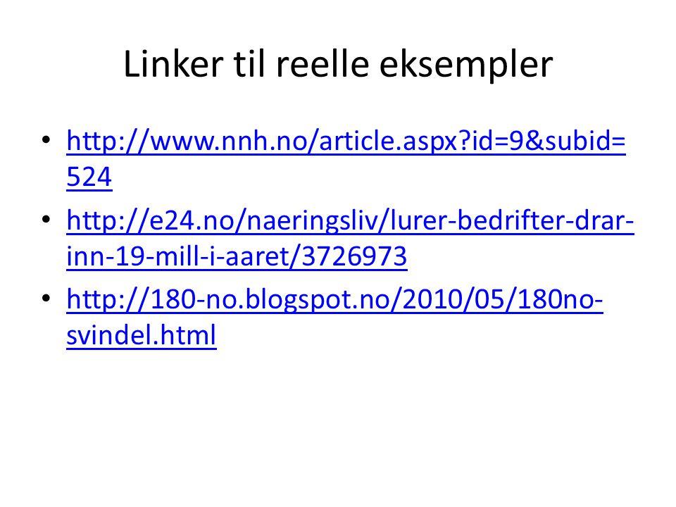 Linker til reelle eksempler http://www.nnh.no/article.aspx?id=9&subid= 524 http://www.nnh.no/article.aspx?id=9&subid= 524 http://e24.no/naeringsliv/lu