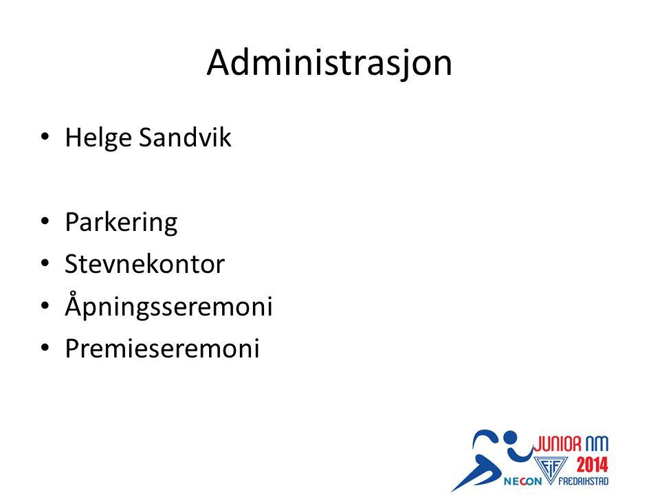 Administrasjon Helge Sandvik Parkering Stevnekontor Åpningsseremoni Premieseremoni