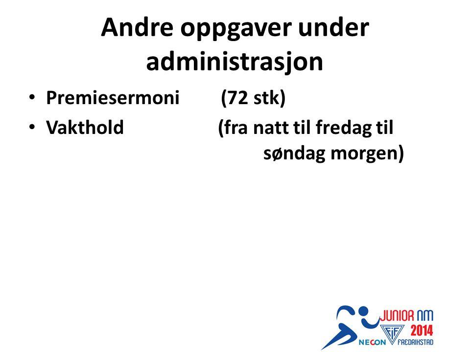 Andre oppgaver under administrasjon Premiesermoni (72 stk) Vakthold (fra natt til fredag til søndag morgen)