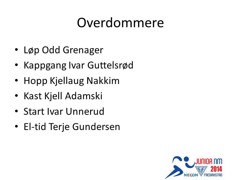 Overdommere Løp Odd Grenager Kappgang Ivar Guttelsrød Hopp Kjellaug Nakkim Kast Kjell Adamski Start Ivar Unnerud El-tid Terje Gundersen