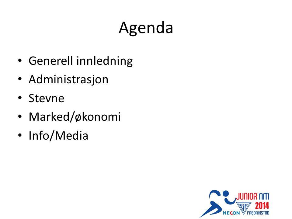 Agenda Generell innledning Administrasjon Stevne Marked/økonomi Info/Media