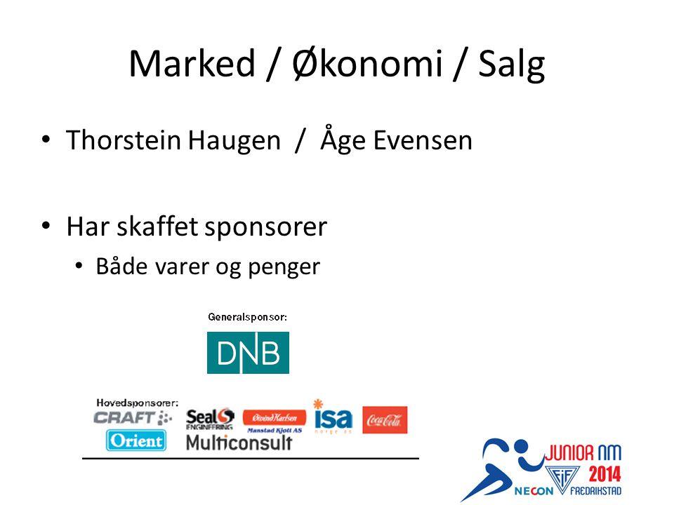 Marked / Økonomi / Salg Thorstein Haugen / Åge Evensen Har skaffet sponsorer Både varer og penger