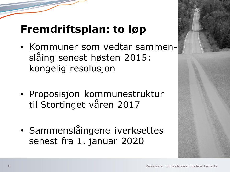 Kommunal- og moderniseringsdepartementet Norsk mal: Tekst uten kulepunkter Fremdriftsplan: to løp Kommuner som vedtar sammen- slåing senest høsten 201