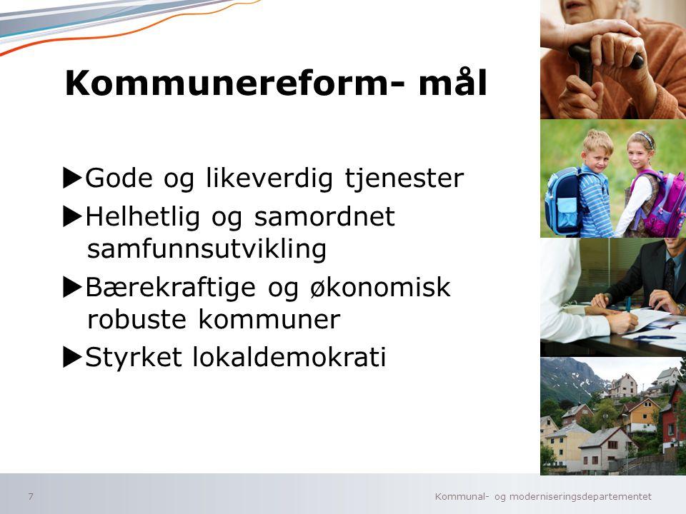 Kommunal- og moderniseringsdepartementet Norsk mal: Tekst med kulepunkter – 4 vertikale bilder Tips bilde: For best oppløsning anbefales jpg og png- f