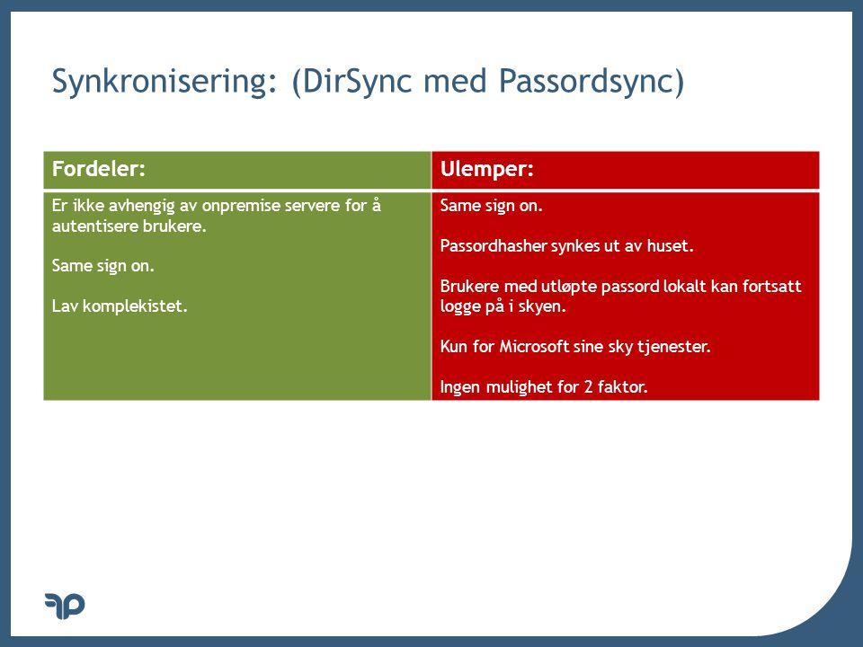 v Synkronisering: (DirSync med Passordsync) Fordeler:Ulemper: Er ikke avhengig av onpremise servere for å autentisere brukere. Same sign on. Lav kompl