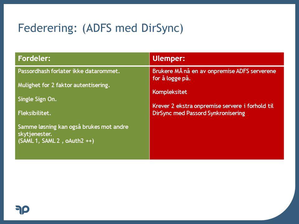 v Federering: (ADFS med DirSync) Fordeler:Ulemper: Passordhash forlater ikke datarommet. Mulighet for 2 faktor autentisering. Single Sign On. Fleksibi