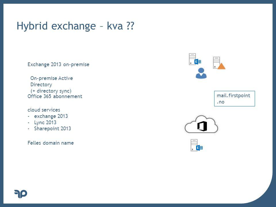 v Kva må på plass i forkant ---- Exchange 2013 CAS (CU1) Exchange 2007 (SP3) /2010 (SP3) /2013 (CU1) MBX Office 365 (v15.0.620.28 ++) DirSync (kanskje og med AD FS) Sertifikat – DNS oppføringer – EAC kobling hotmail.com MX preference = 5, mail exchanger = mx2.hotmail.com Name: autodiscover.microsoft.com Address: 131.107.125.5 _autodiscover._tcp.firstpoint.no SRV service location: priority = 0 weight = 0 port = 443 svr hostname = mail.firstpoint.no mail.firstpoint.no internet address = 172.29.1.15