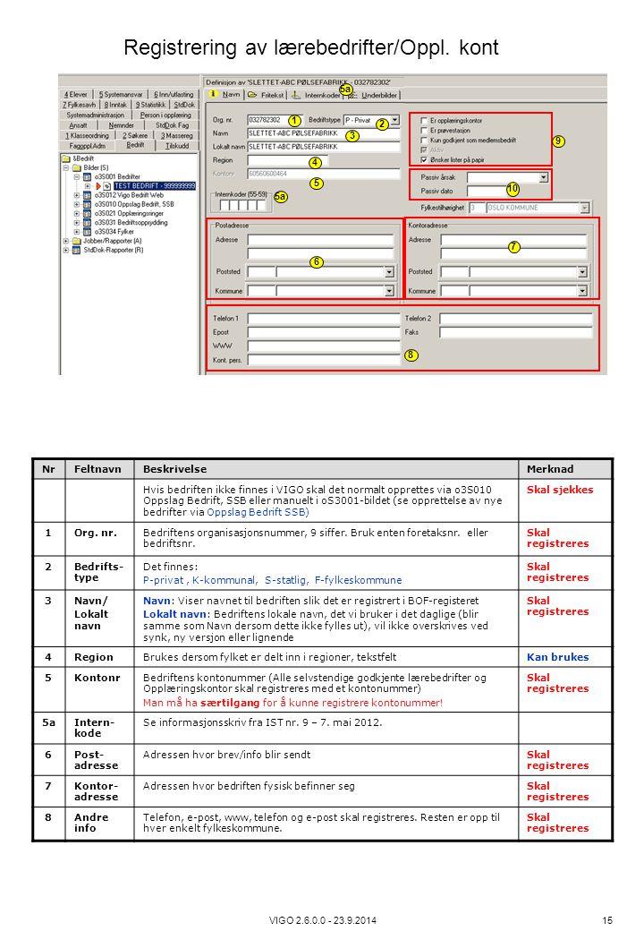 VIGO 2.6.0.0 - 23.9.2014 15 NrFeltnavnBeskrivelseMerknad Hvis bedriften ikke finnes i VIGO skal det normalt opprettes via o3S010 Oppslag Bedrift, SSB