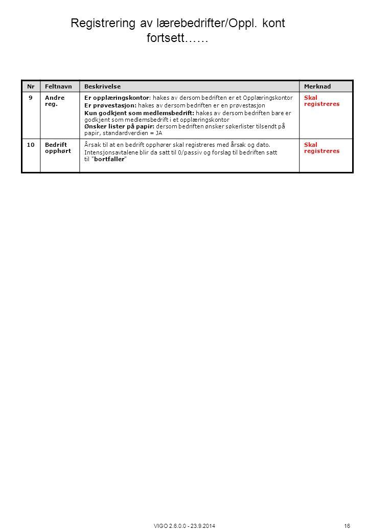 VIGO 2.6.0.0 - 23.9.2014 16 NrFeltnavnBeskrivelseMerknad 9Andre reg. Er opplæringskontor: hakes av dersom bedriften er et Opplæringskontor Er prøvesta