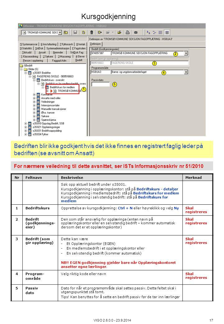 VIGO 2.6.0.0 - 23.9.2014 17 NrFeltnavnBeskrivelseMerknad Søk opp aktuell bedrift under o3S001. Kursgodkjenning i opplæringskontor: stå på Bedriftskurs