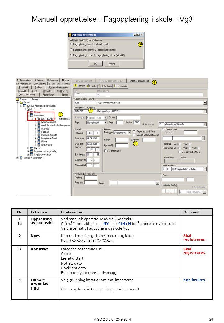 """VIGO 2.6.0.0 - 23.9.2014 26 NrFeltnavnBeskrivelseMerknad 1 1a Oppretting av kontrakt Ved manuelt opprettelse av Vg3-kontrakt: Stå på """"kontrakter"""" velg"""