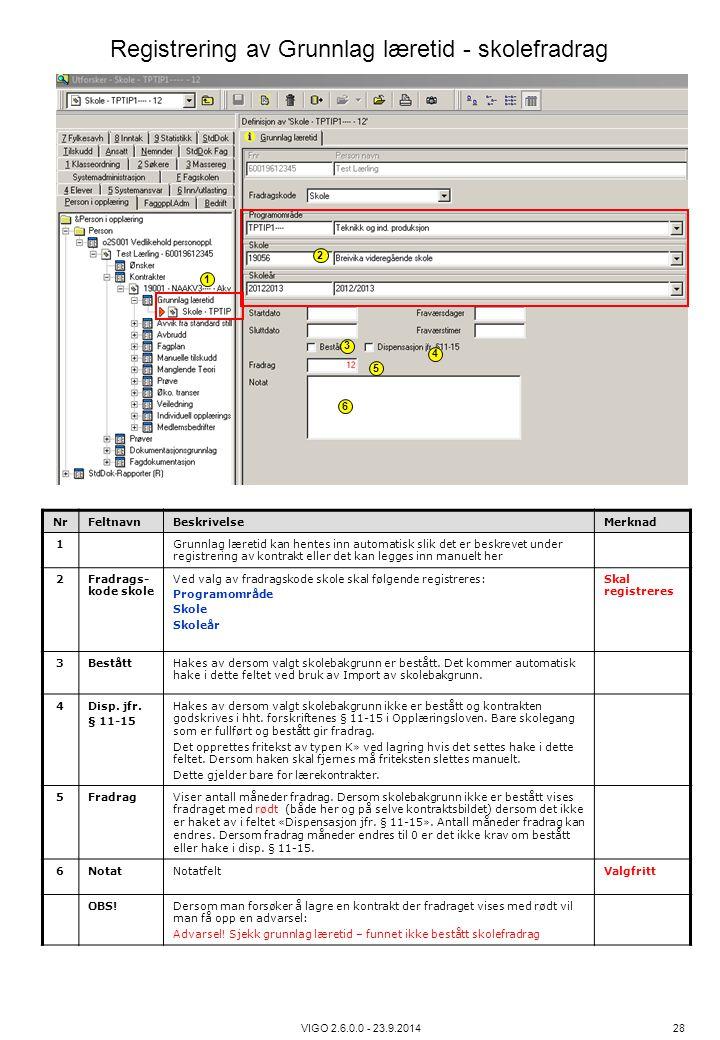 VIGO 2.6.0.0 - 23.9.2014 28 NrFeltnavnBeskrivelseMerknad 1Grunnlag læretid kan hentes inn automatisk slik det er beskrevet under registrering av kontr