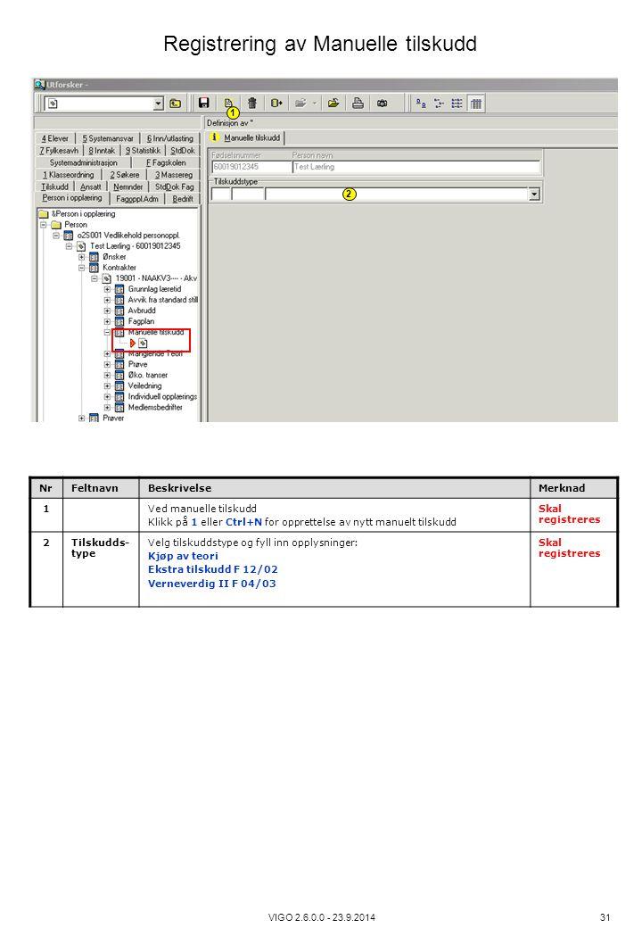 VIGO 2.6.0.0 - 23.9.2014 31 NrFeltnavnBeskrivelseMerknad 1Ved manuelle tilskudd Klikk på 1 eller Ctrl+N for opprettelse av nytt manuelt tilskudd Skal