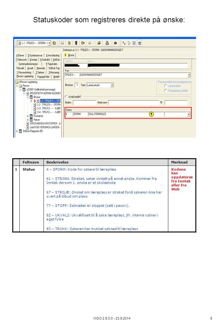VIGO 2.6.0.0 - 23.9.2014 5 FeltnavnBeskrivelseMerknad 1Status4 – SFORM: Kode for søkere til læreplass 61 – STRINN: Strøket, søker inntatt på annet øns