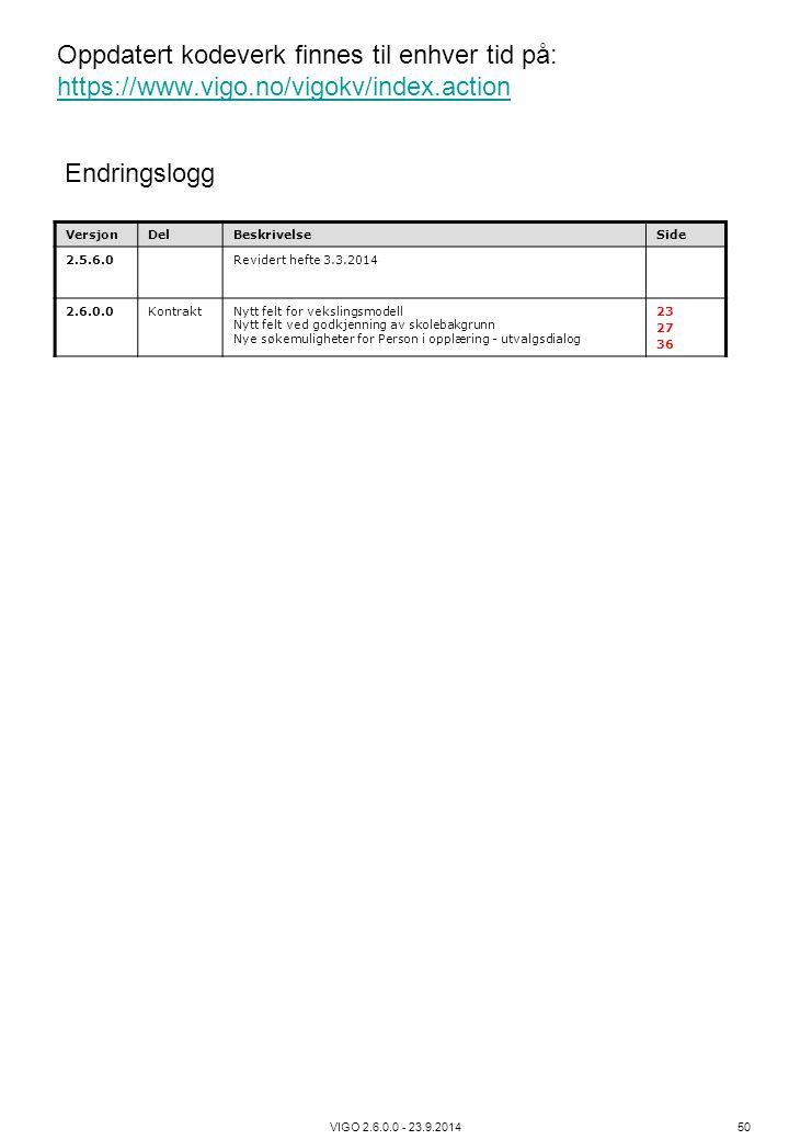 VIGO 2.6.0.0 - 23.9.2014 50 Oppdatert kodeverk finnes til enhver tid på: https://www.vigo.no/vigokv/index.action https://www.vigo.no/vigokv/index.acti