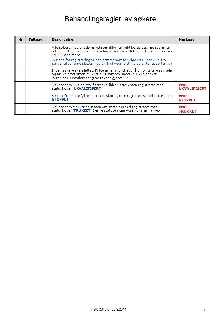 VIGO 2.6.0.0 - 23.9.2014 7 NrFeltnavnBeskrivelseMerknad Alle søkere med ungdomsrett som ikke har søkt læreplass, men som har fått, eller får læreplass