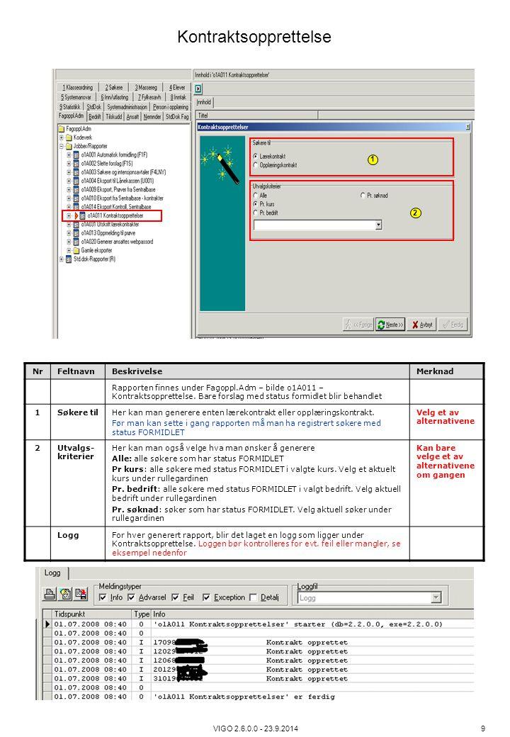 VIGO 2.6.0.0 - 23.9.2014 9 NrFeltnavnBeskrivelseMerknad Rapporten finnes under Fagoppl.Adm – bilde o1A011 – Kontraktsopprettelse. Bare forslag med sta