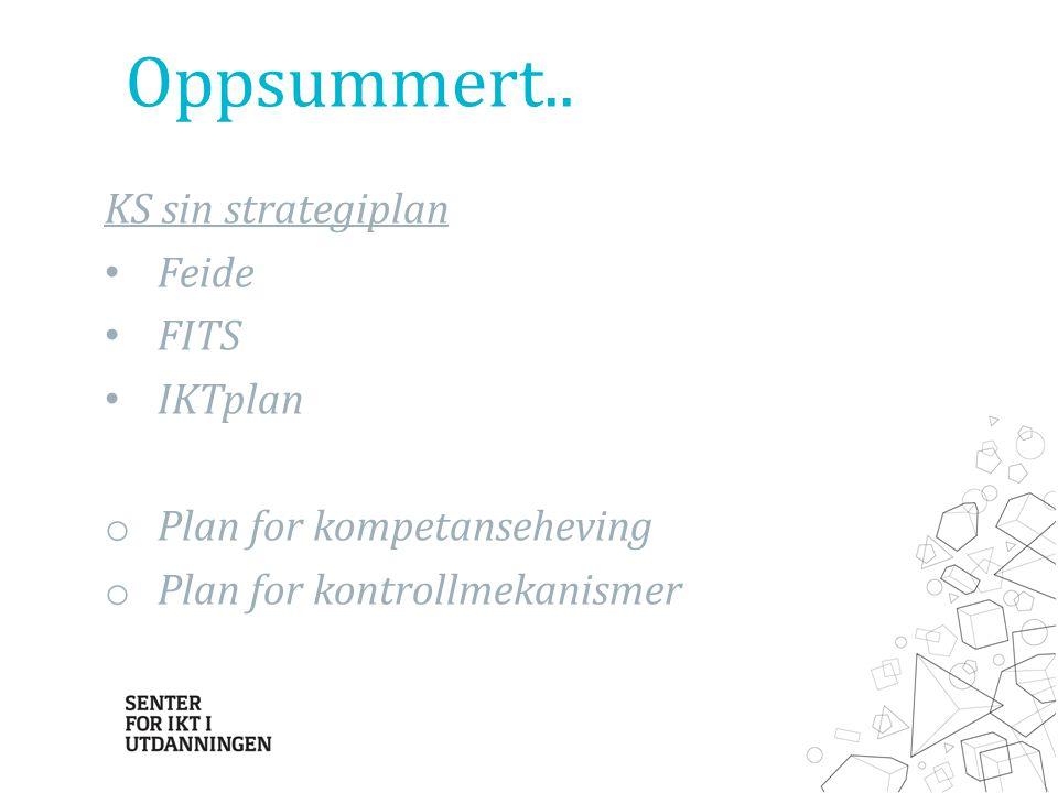 Oppsummert.. KS sin strategiplan Feide FITS IKTplan o Plan for kompetanseheving o Plan for kontrollmekanismer