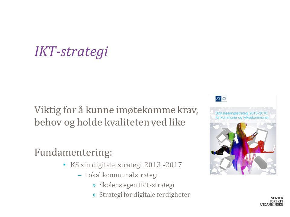IKT-strategi Viktig for å kunne imøtekomme krav, behov og holde kvaliteten ved like Fundamentering: KS sin digitale strategi 2013 -2017 – Lokal komm