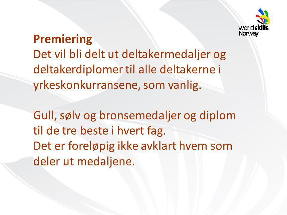 Premiering Det vil bli delt ut deltakermedaljer og deltakerdiplomer til alle deltakerne i yrkeskonkurransene, som vanlig.