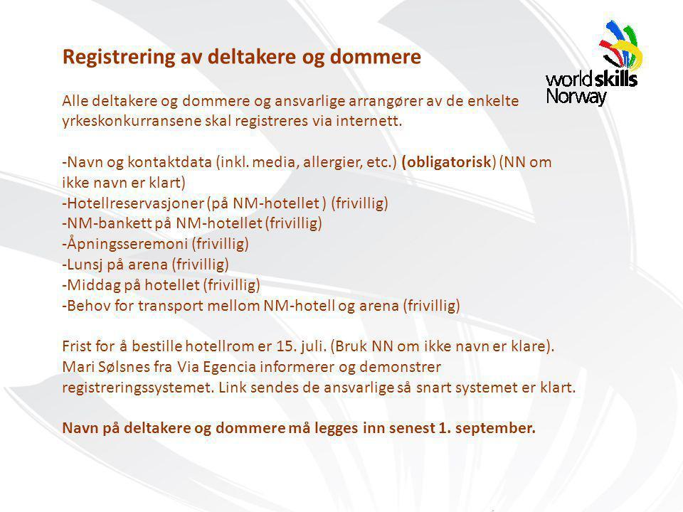 Samarbeidsparter: Registrering av deltakere og dommere Alle deltakere og dommere og ansvarlige arrangører av de enkelte yrkeskonkurransene skal registreres via internett.