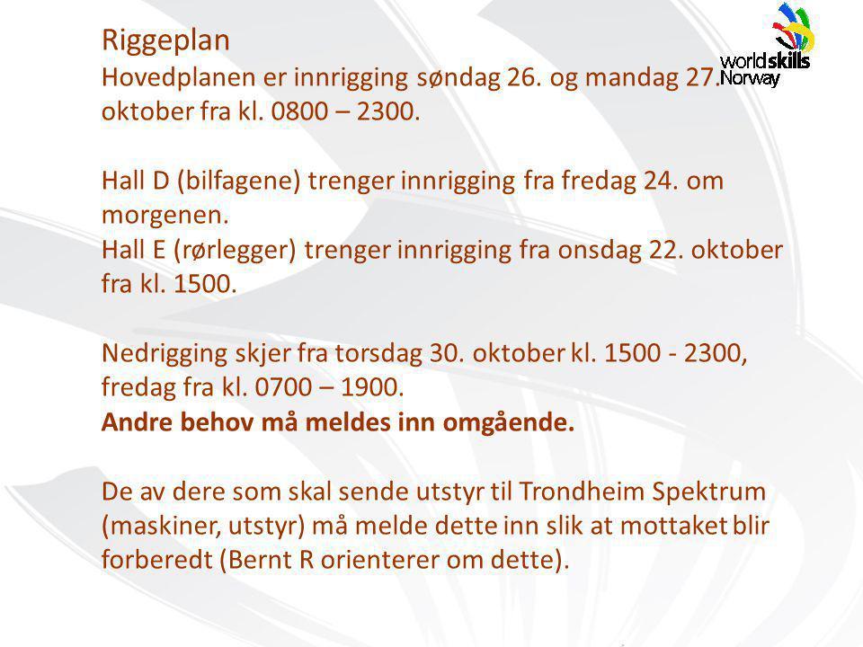 Riggeplan Hovedplanen er innrigging søndag 26. og mandag 27.
