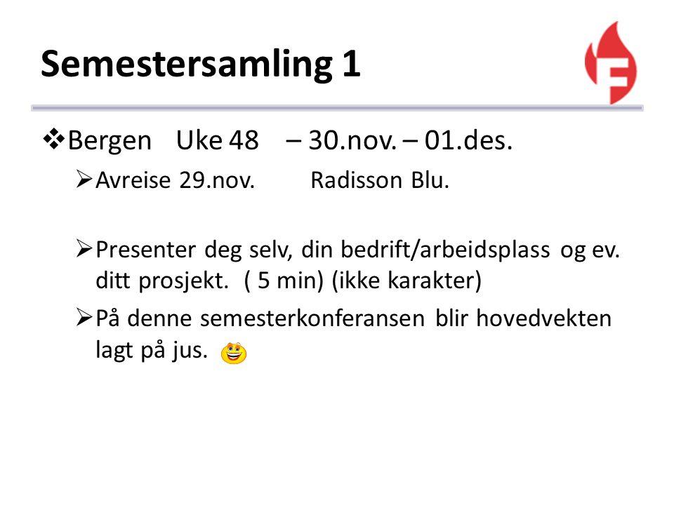 Semestersamling 1  BergenUke 48 – 30.nov. – 01.des.  Avreise 29.nov.Radisson Blu.  Presenter deg selv, din bedrift/arbeidsplass og ev. ditt prosjek