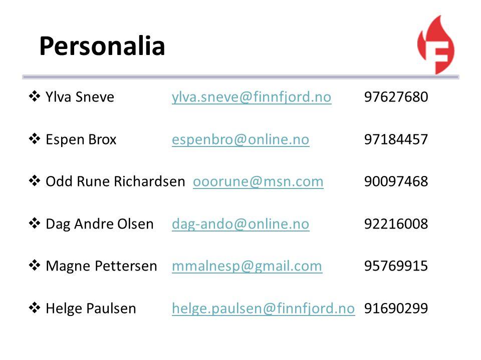 Personalia  Ylva Sneveylva.sneve@finnfjord.no97627680ylva.sneve@finnfjord.no  Espen Broxespenbro@online.no97184457espenbro@online.no  Odd Rune Rich