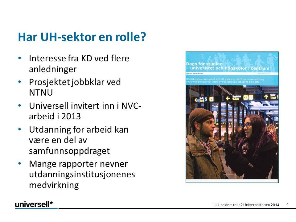 Har UH-sektor en rolle? Interesse fra KD ved flere anledninger Prosjektet jobbklar ved NTNU Universell invitert inn i NVC- arbeid i 2013 Utdanning for