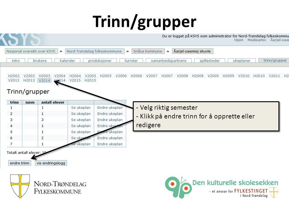 Trinn/grupper - Velg riktig semester - Klikk på endre trinn for å opprette eller redigere - Velg riktig semester - Klikk på endre trinn for å opprette eller redigere