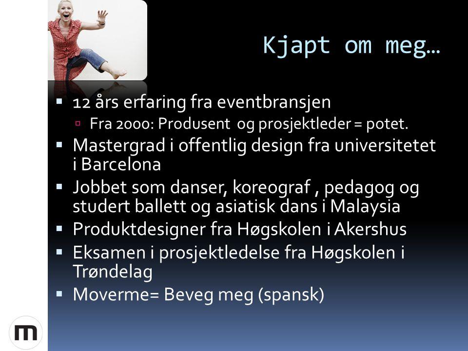 Kjapt om meg…  12 års erfaring fra eventbransjen  Fra 2000: Produsent og prosjektleder = potet.