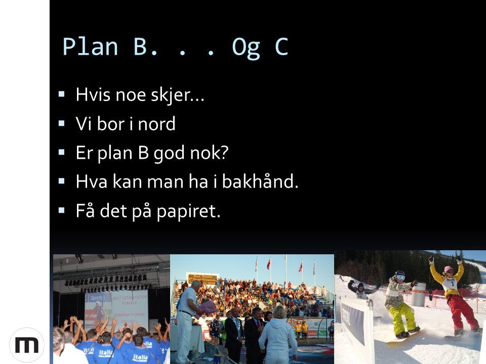 Plan B... Og C  Hvis noe skjer…  Vi bor i nord  Er plan B god nok.